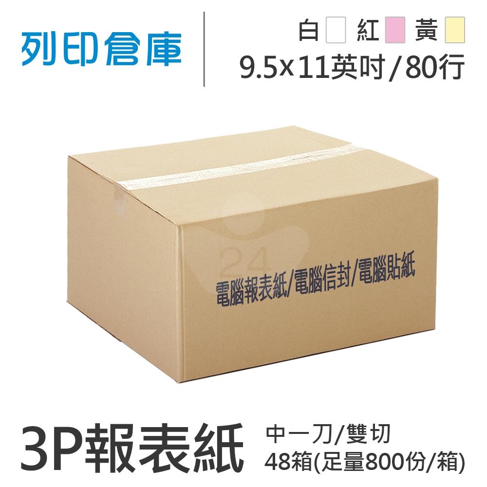 【電腦連續報表紙】 80行 9.5*11*3P 白紅黃/ 雙切 中一刀 /超值組48箱(足量800份)