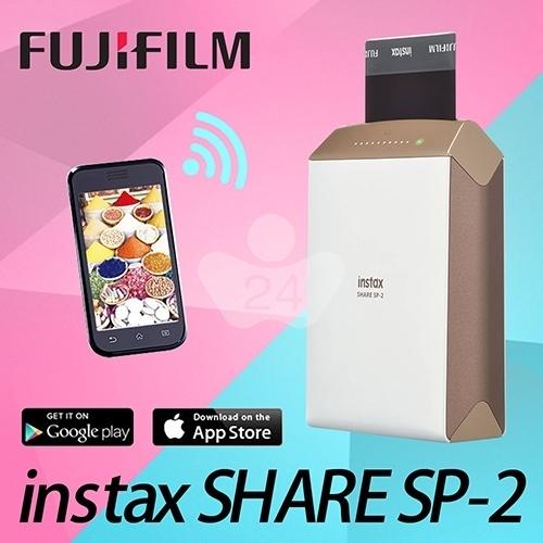 FUJIFILM instax SHARE SP-2相印機 金 贈卡通底片*1(Micky、Pooh、Hello Kitty)三選一