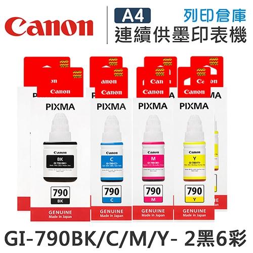 CANON GI-790BK/C/M/Y 原廠盒裝墨水組(2黑6彩)