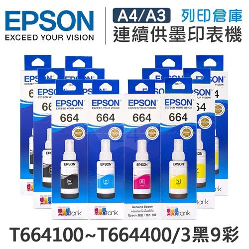 EPSON T664100~T664400 原廠盒裝墨水組(3黑9彩)