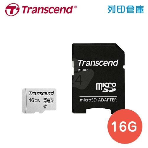創見 Transcend microSDHC 300S UHS-I U1 C10 IPX7 / 16GB 記憶卡附轉接卡