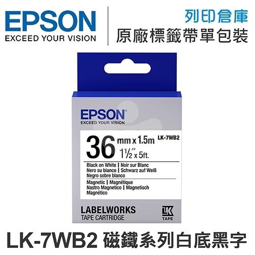 EPSON C53S657405 LK-7WB2 磁鐵系列白底黑字標籤帶(寬度36mm)