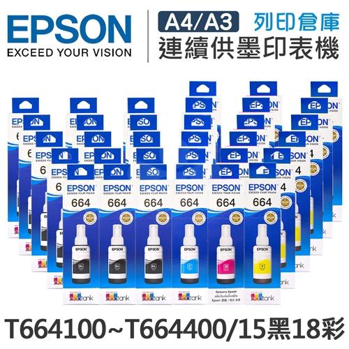 EPSON T664100~T664400 原廠盒裝墨水組(15黑18彩)