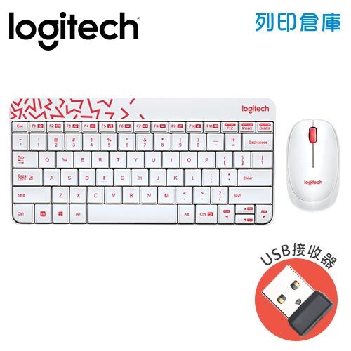 Logitech羅技 MK240 無線鍵盤滑鼠組-白色/紅邊(USB接收器)