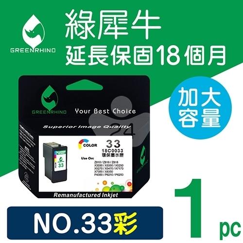 綠犀牛 for Lexmark  NO.33 (18C0033) 彩色高容量環保墨水匣