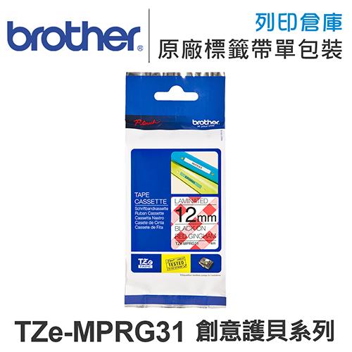 Brother TZe-MPRG31 創意護貝系列俏紅格紋紅格紋底黑字標籤帶(寬度12mm)