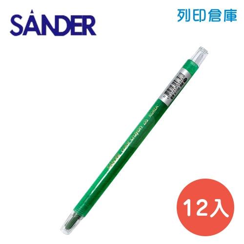 SANDER 聖得 B-1708 深綠色 旋轉蠟筆 (素面) 12入/盒