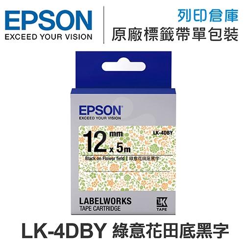 EPSON LK-4DBY C53S654463 Pattern系列 綠意花田底黑字標籤帶(寬度12mm)