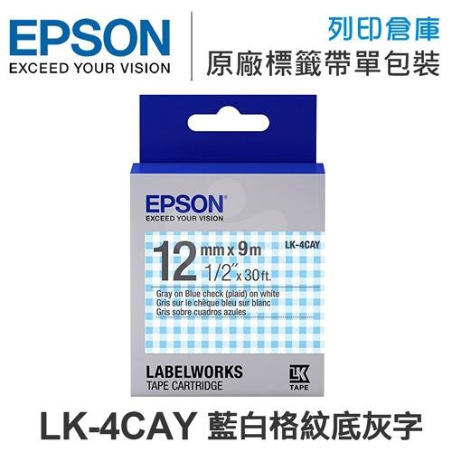 EPSON LK-4CAY C53S654446 Pattern系列 藍白格紋底灰字標籤帶(寬度12mm)